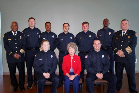 Clarksville Fire Rescue Deputy Fire Chief Ray Williams, left, Clarksville Mayor Kim McMillan and Fire Chief Mike Roberts joined to welcome seven new firefighters to Clarksville Fire Rescue on Friday, October 5th. The new firefighters are Jonathan Crawford, Taylor Hall, Trevor Moore, Owen James, Abigail Pacolt, Blaide Smith and Dylan Stewart.