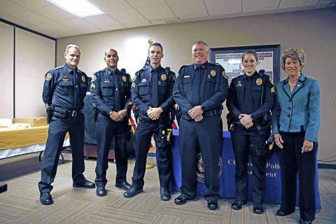 (L to R) Clarksville Police Chief Al Ansley, Sgt Arthur Bing, Sgt Stephen Hurt, Lieutenant Robert Miller, Sgt Shelby Murray, and Clarksville Mayor Kim McMillan. (Jim Knoll, CPD)