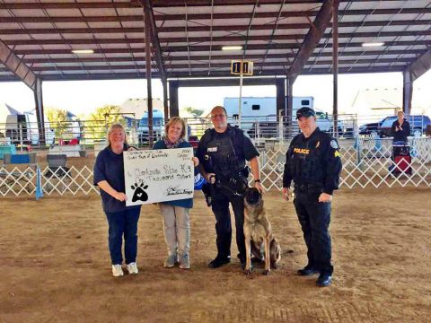 Clarksville Kennel Club and Tender Paws' donate $1,000 to purchase a protective vest for Clarksville Police Service Dog.