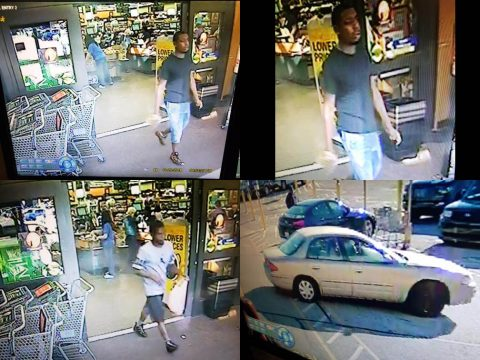 Clarksville Police are looking for the two burglar suspects in this photo. They used a stolen credit card at the Kroger on Madison Street. On suspect got in the car pictured here.