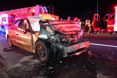 A Chevy Cavalier crashed into a stopped Ford F350 on US 79N Wednesday.