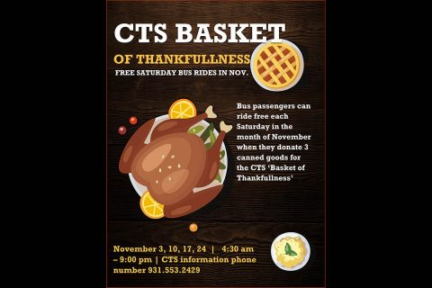 Clarksville Transit System Basket of Thankfulness will help Manna Cafe serve people in need.