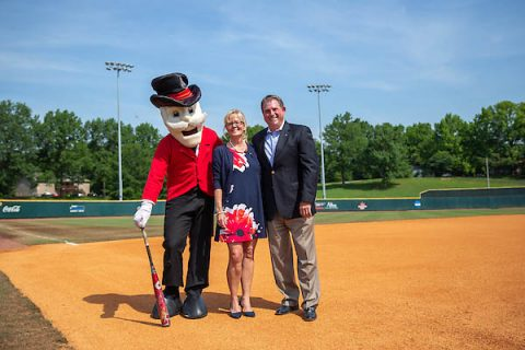Doug and Linda Downey stand with the Austin Peay State University Gov mascot.