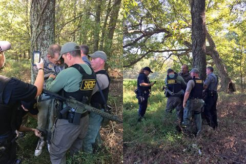 Kirby Wallace captured by Henry County Sheriff Monte Belew and Corporal Stacey Bostwick in Stewart County. (TBI)