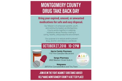 Montgomery County Drug Take Back Day is Saturday, October 27th, 2018.