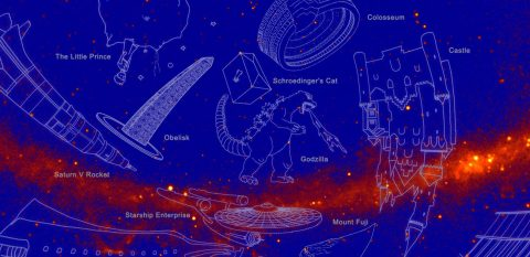 New, unofficial constellations appear in this image of the sky mapped by NASA's Fermi Gamma-ray Space Telescope. Fermi scientists devised the constellations to highlight the mission's 10th year of operations. Fermi has mapped about 3,000 gamma-ray sources — 10 times the number known before its launch and comparable to the number of bright stars in the traditional constellations. (NASA)