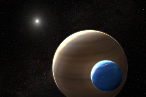 NASA's Hubble and Kepler space telescopes have uncovered what could be the first moon outside our solar system ever found. More observations are needed to confirm this discovery. (NASA/ESA/L. Hustak)