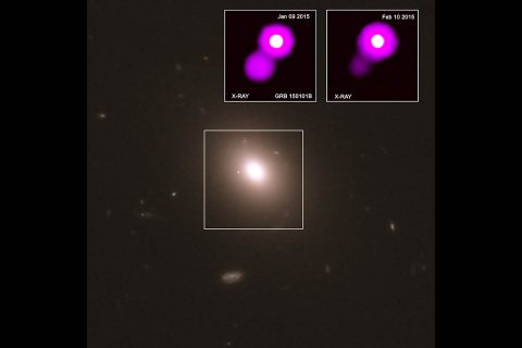 A distant cosmic relative to the first source that astronomers detected in both gravitational waves and light may have been discovered. This object, called GRB150101B, was first detected by identified as a gamma ray burst (GRB) by the NASA's Fermi satellite in January 2015. (X-ray: NASA/CXC/GSFC/UMC/E. Troja et al.; Optical and infrared: NASA/STScI)