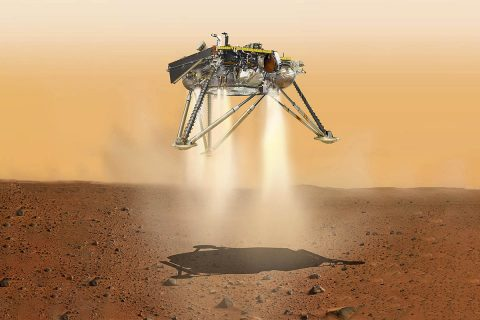 This is an illustration showing a simulated view of NASA's InSight lander about to land on the surface of Mars. This view shows the underside of the spacecraft. (NASA/JPL-Caltech)