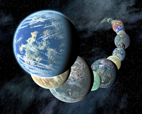 Artist's concept of how rocky, potentially habitable worlds elsewhere in our galaxy might appear. Data gathered by telescopes in space and on the ground suggest that small, rocky planets are common. (Placing them so close together in a line is for illustrative purposes only.) (NASA/JPL-Caltech/R. Hurt (SSC-Caltech))