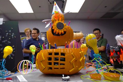 Pumpkins created by engineers at NASA's Jet Propulsion Laboratory are on display every year during the laboratory's Halloween festivities, which also coincide with JPL's birthday. (NASA/JPL-Caltech)