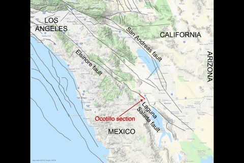The approximate location of the newly mapped Ocotillo section, which ties together California's Elsinore fault and Mexico's Laguna Salada fault into one continuous fault system. (NASA/JPL-Caltech)