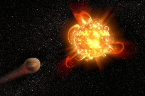 Violent outbursts of seething gas from young red dwarf stars may make conditions uninhabitable on fledgling planets. In this artist's rendering, an active, young red dwarf (right) is stripping the atmosphere from an orbiting planet (left). Scientists found that flares from the youngest red dwarfs they surveyed — approximately 40 million years old — are 100 to 1,000 times more energetic than when the stars are older. They also detected one of the most intense stellar flares ever observed in ultraviolet light — more energetic than the most powerful flare ever recorded from our Sun.(NASA, ESA and D. Player (STScI))