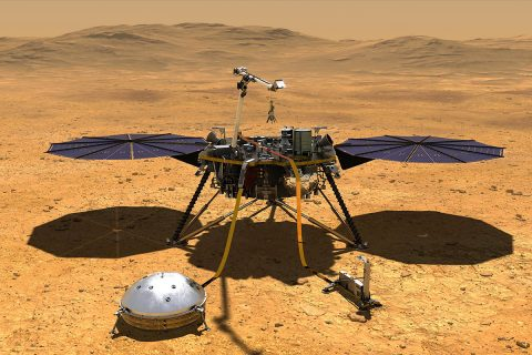 This artist's concept depicts NASA's InSight lander after it has deployed its instruments on the Martian surface. (NASA/JPL-Caltech)