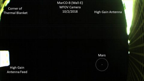 One of NASA's twin MarCO spacecraft took this image(annotated) of Mars on October 2nd -- the first time a CubeSat, a kind of low-cost, briefcase-sized spacecraft -- has done so. (NASA/JPL-Caltech)