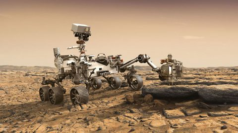 This artist's rendition depicts NASA's Mars 2020 rover studying a Mars rock outrcrop. (NASA/JPL-Caltech)