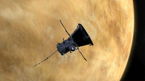 NASA's Parker Solar Probe completed its first flyby of Venus on Oct. 3, 2018, during a Venus gravity assist, where the spacecraft used the planet's gravity to alter its trajectory and bring it closer to the Sun. (NASA/JHUAPL)