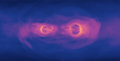This photo shows a frozen version of the simulation in the plane of the disk. (NASA's Goddard Space Flight Center)
