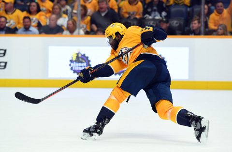 Nashville Predators defenseman P.K. Subban (76) attempts a shot during the second period against the Calgary Flames at Bridgestone Arena. (Christopher Hanewinckel-USA TODAY Sports)