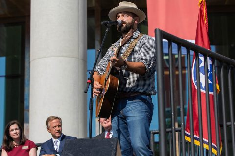 "Singer-Songwriter Drew Holcomb performs his song ""Tennessee"" at the opening of the New Tennessee State Museum. (Nathan Morgan)"