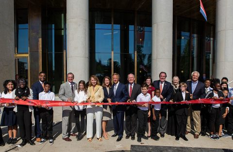 Tennessee Governor Bill Haslam, Senator Lamar Alexander, Speaker Beth Harwell and Tennessee State Museum executive director Ashley Howell are joined by other invited guests and dignitaries and students from John Early Museum Magnet Middle School to cut the ribbon marking the opening of the New Tennessee State Museum. (Nathan Morgan)
