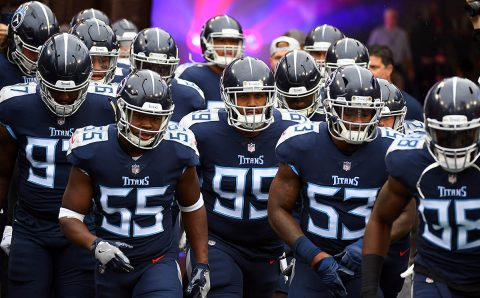 Tennessee Titans defenders take the field before a game against the Baltimore Ravens at Nissan Stadium. (Christopher Hanewinckel-USA TODAY Sports)