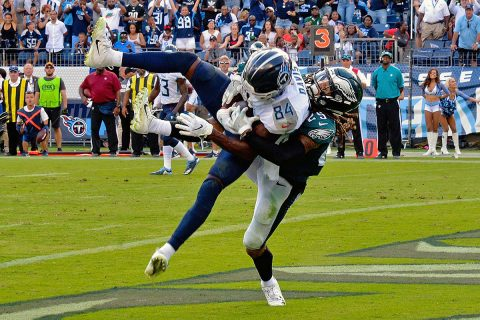 Tennessee Titans wide receiver Corey Davis (84) catches a pass against Philadelphia Eagles cornerback Avonte Maddox (29) for a touchdown to win the game 26-23 during overtime at Nissan Stadium on September 20th, 2018. (Jim Brown-USA TODAY Sports)