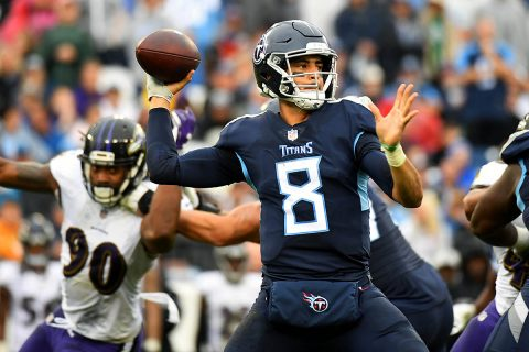 Tennessee Titans quarterback Marcus Mariota (8) attempts a pass during the first half against the Baltimore Ravens at Nissan Stadium. (Christopher Hanewinckel-USA TODAY Sports)