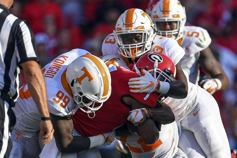 Georgia Bulldogs running back D'Andre Swift (7) is tackled by Tennessee Volunteers linebacker Jonathan Kongbo (99) and linebacker Deandre Johnson (13) during the second half at Sanford Stadium. (Dale Zanine-USA TODAY Sports)
