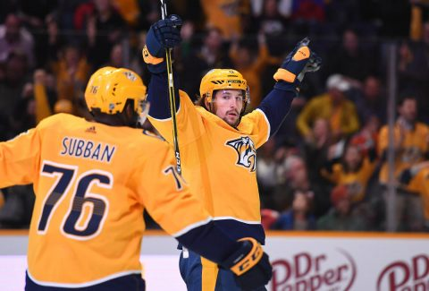 Nashville Predators left wing Filip Forsberg (9) celebrates with defenseman P.K. Subban (76) after scoring his third goal of the game against the Edmonton Oilers at Bridgestone Arena. Mandatory Credit: Christopher Hanewinckel-USA TODAY Sports