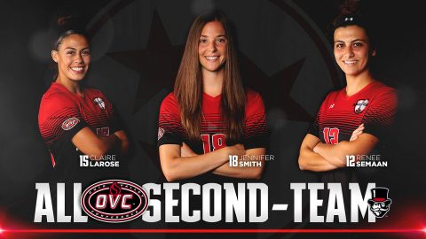 Austin Peay's Claire Larose, Jennifer Smith, and Renee Semaan all earned Second-Team All-Ohio Valley Conference honors. (APSU Sports Information)