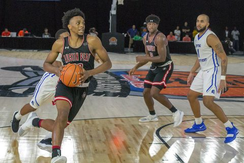 Austin Peay Men's Basketball come from nine points down in final minutes to defeat Central Connecticut 80-78 in Jamaica Classic held at the Montego Bay Convention Center. (APSU Sports Information)