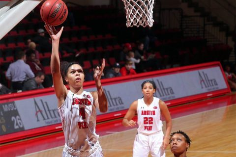 Austin Peay Women's Basketball junior Arielle Gonzalez-Varner had a career high 32 points and 23 rebounds in loss to Mississippi State Valley Monday night at the Dunn Center. (APSU Sports Information)
