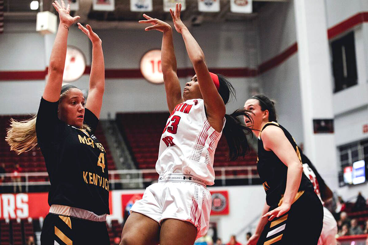 Austin Peay Women's Basketball defense forces 25 turnovers in 52-48 win against Northern Kentucky Monday night at the Dunn Center. (APSU Sports Information)