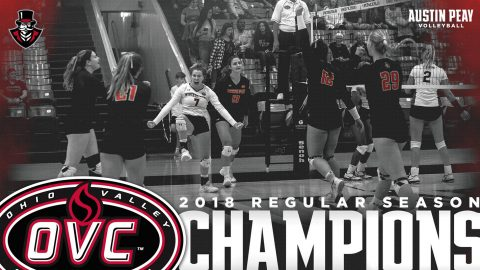 Austin Peay Women's Volleyball beat Eastern Illinois Saturday to win the OVC Regular Season Title for second year in a row. (APSU Sports Information)