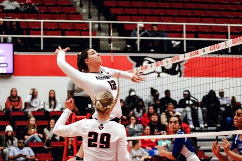 Austin Peay senior Kaylee Taff has 11 kills and 4 blocks in three set sweep of Tennessee State Thursday night at the OVC Tournament. (APSU Sports Information)