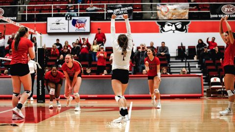 Austin Peay Women's Volleyball gets four set win against Jacksonville State Friday night. The Govs will face Murray State in the OVC Championship game Saturday at noon. (APSU Sports Information)