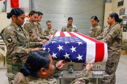 Mortuary affairs specialists from the 962nd Quartermaster Company, attached to the 101st Resolute Support Sustainment Brigade, conduct a capabilities demonstration to showcase the importance and dedication it takes to prepare and place a flag over the transfer case for fallen service members on Bagram Airfield, Afghanistan, Oct. 31, 2018. (U.S. Army photo by Staff Sergeant Caitlyn Byrne)