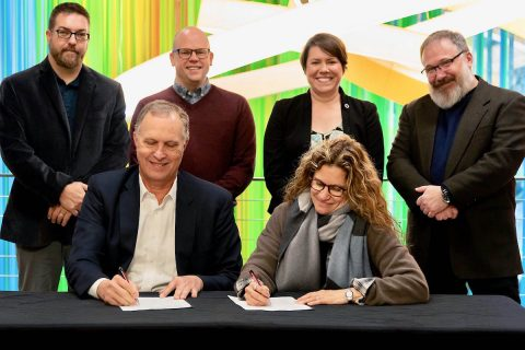 Standing from left are Michael Dickins, Austin Peay State University Art + Design gallery director; Dr. Tony Morris, APSU Art + Design chair; Dr. Janice Crews, Center of Excellence for the Creative Arts director; Barry Jones, APSU College of Arts & Letters interim dean; sitting are Dr. Rex Gandy, APSU provost and vice president for academic affairs, and Sharon Louden, artistic director of Chautauqua Institution's Visual Arts Program.