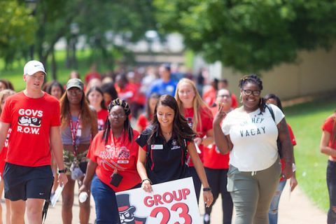 Austin Peay State University (APSU) students gather in the Dunn Center for Freshman Convocation on August 24th, 2018. (Denzil Wyatt, APSU)