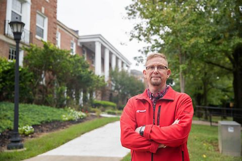 William Cody, a history major and Coast Guard veteran, takes classes in Austin Peay State University's Harned Hall.