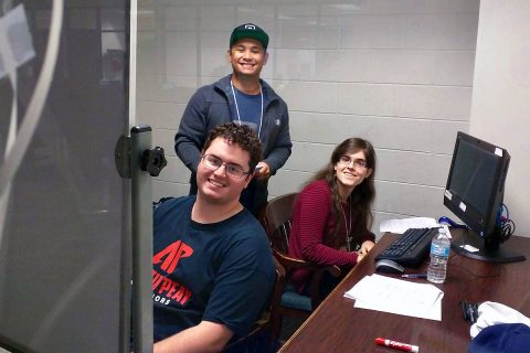 """APSU's Harrison Welch, front, Chris Tuncap and Lexie Nance were on team """"null."""""""