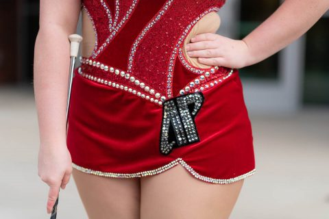 An Austin Peay State University logo bedazzles Izzy Melvin's baton twirling uniform.