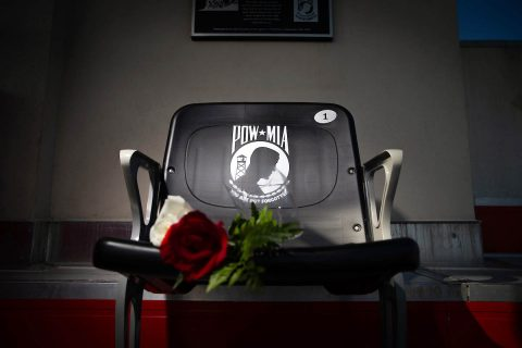 On Saturday, November 17th, 2018 during the Austin Peay State University Military Appreciation Football Game, the University officially dedicated a POW-MIA chair in Fortera Stadium.