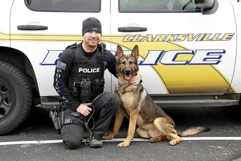Clarksville Police Officer Seth Paugh with Arlo.