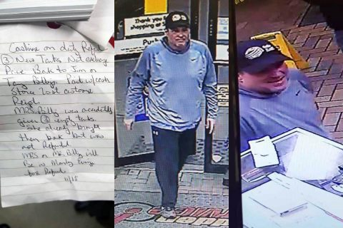 Clarksville Police are asking the public's help in identifying the man in these photos wanted for fraud. Also pictured is the note he wrote.