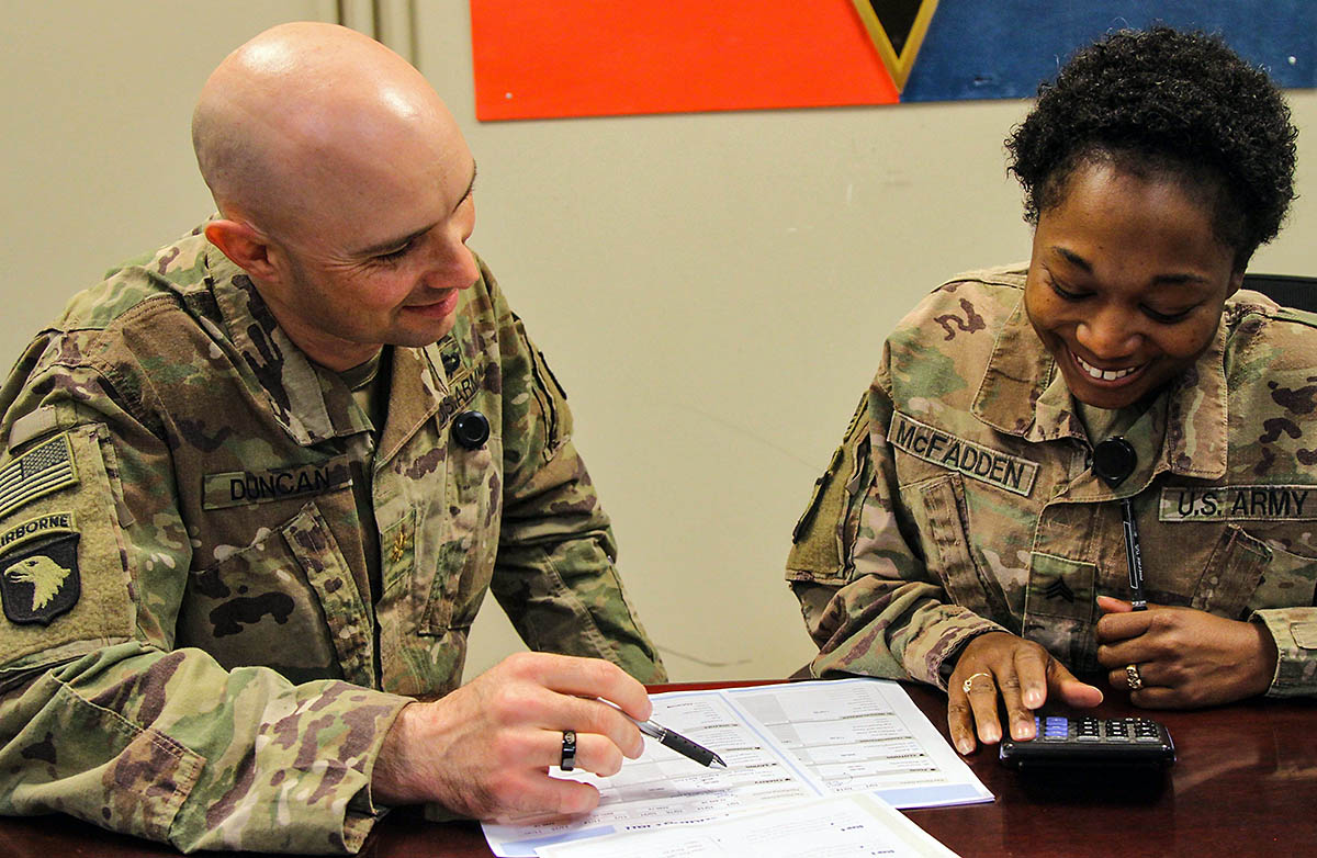 Major Jeremy Duncan, a signal officer, and North Carolina native teaches budgeting fundamentals to Sergeant Latoya McFadden, a culinary specialist assigned to the 101st Resolute Support Sustainment Brigade. Major Duncan is the primary instructor for the 9-week financial management course at Bagram Airfield, Afghanistan. (U.S. Army photo by Spc. Alexes Anderson)