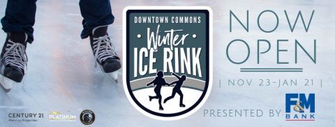 Downtown Commons Winter Ice Rink open now through January 21st