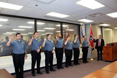 Montgomery County Sheriff John Fuson swears in Gustavo Acevedo, Logan Bowman, Kristyn Brock, Ronnie Eley, Randall Hembree, Dylan Ragsdale, and Caleb Wesson Friday.