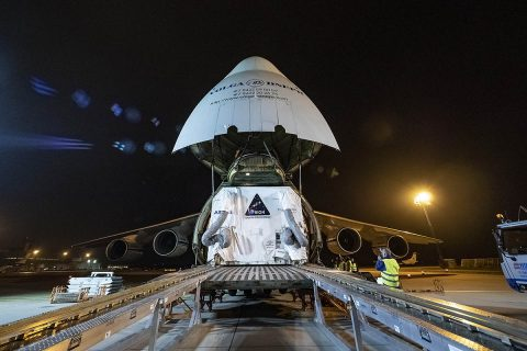 The European Service Module for NASA's Orion spacecraft is loaded on an Antonov airplane in Bremen, Germany, on Nov. 5, 2018, for transport to NASA's Kennedy Space Center in Florida. For the first time, NASA will use a European-built system as a critical element to power an American spacecraft, extending the international cooperation of the International Space Station into deep space. Credits: NASA/Rad Sinyak
